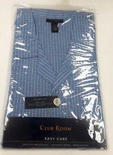 Club Room Blue Cotton Blend Flannel Short Sleeve Knee Length Pajama Set Medium