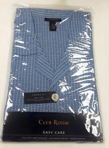 Club Room Blue Cotton Blend Flannel Short Sleeve Knee Length Pajama Set Small