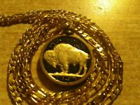 "Antique ""Black Gold"" US BUFFALO NICKEL Pendant on an 18KGF 18"" Gold Filled Chain"