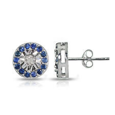925 Silver Genuine Blue Sapphire and Diamond Accent Illusion-Set Stud Earrings