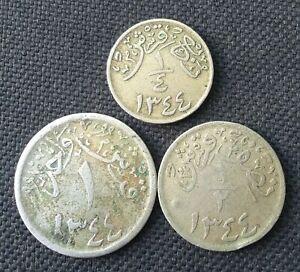 SAUDI ARABIA HEJAZ & NEJD SET OF 3 COINS 1344 SCARCE L@@K!