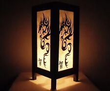 Handmade Asian Oriental Old White Black China Dragon Bedside Table Light Lamp