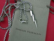 "David Yurman Sterling Silver Lightning Bolt Pendant Necklace 20"" Chain"