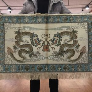YILONG 2'x3.1' 800 Lines Handmade Pictorial Silk Tapestry Dragon Scene Rug P027H