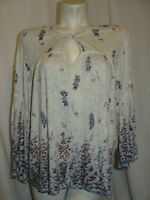 LUCKY BRAND Top Women's Size 2X Floral Border Print Bell Sleeve Peasant Blouse