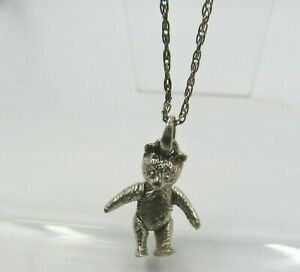 Sterling Silver Jointed Teddy Bear Pendant on a Silver Chain Necklace
