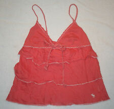 Women's Abercrombie & Fitch Coral Tiered Ruffle Cami Tank Top V Neck Shirt S