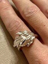 Genuine Danish Flora Danica Eggert Leaf Ring Silver 925 Adjustable Size 56+