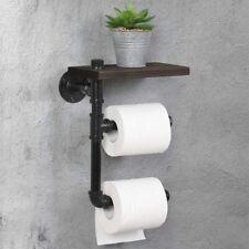 Toilet Tissue Holder Wall-Mounted Wooden Tolit Paper Roll Holder Bathroom Black