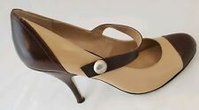 Enzo Angiolini High Heels Size 8M Two Tone Brown Off White Or Cream Rockabilly