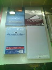 4x Office Paper Lot: Blue Cover Stock, White Laid Paper, Rose Granite Blue Legal