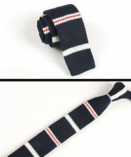 Men's Navy Blue White Stripe Tie Knit Knitted Necktie Slim Narrow Skinny ZZLD058