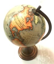 "Brilliant Color Green /Teal World Desk Globe - 14"" by 9"" - Brushed Bronze Stand"