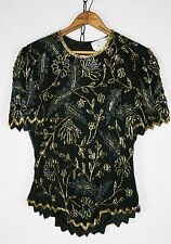 Vintage 80's Beaded Sequin Top ASYMMETRICAL Hem Party Cocktail Glam XS S /w265