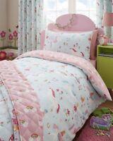 Magical Unicorns Girls Blue Reversible Duvet Cover Bedding Curtain Throwover Set