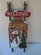 Winter Wooden Sleigh Decorative Door Welcome Sign