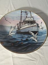 2 Decorative Collectible Plates Fishing Boats Ocean Scene Water Seagulls Pair of