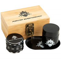 "Kozo Wood Stash Box Combo Kit with Aluminium 2.5"" Herb Grinder, Rolling Tray, a"