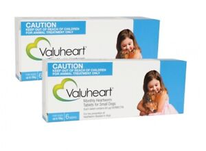 Valuheart Heartworm Tablets for Small Dogs Upto 10kg Monthly Dosage 2 X 6 Pack