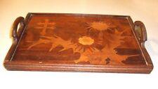 Plateau bois marqueterie chardons croix de Lorraine signé Gallé  - Art nouveau *
