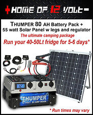 Thumper 80AH Battery Pack 55w solar panel camping package for 12 Volt Fridge