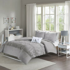 Beautiful Modern Grey Ruffled Ruched Tufted Comforter Set Full Queen King Twin