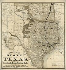LARGE Old Map of Texas 1876 Vintage Historical Wall map, OLD WEST TX wall art
