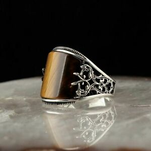 Solid 925 Sterling Silver Handmade Jewelry Tiger's Eye Stone Men's Ring