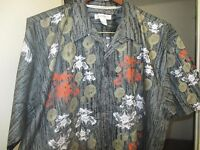 HAWAIIAN SHIRT BY AVIREX - XL -RED WHITE on BLACK GREY- Cobra SNAKES & FLOWERS
