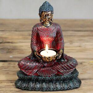 Resin Antique Buddha Devotee Candle Holder Tea Light Ornament