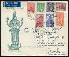 563 - India - Busta Independence Day per Svezia, 15/08/1949