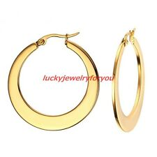 High Grade Gold Plated Stainless Steel Lady Ring Hoop Earrings Women's Jewelry