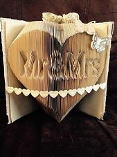 Mr & Mrs in Heart Folded Book Art Folding PATTERN Wedding Anniversary Gift #002