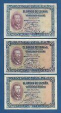 ESPAÑA // SPAIN -- 3 x 25 PESETAS ( 1926 ) - VF - SIN SERIE , SERIE A Y SERIE B