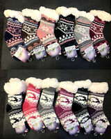 New 3 Pairs Kids Girls Thick Fur Bed Socks Soft Home Socks Fluffy Non Slip