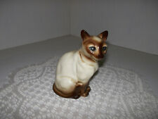 "Vintage Sitting Siamese Cat Figurine Bone China Japan 4"" Tall"