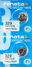 2 pcs Renata 329 Watch Batteries SR731SW SR731 0% MERCURY