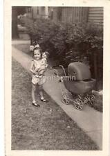Big Hair Bow Girl Holding Baby Doll Toy By Wicker Carriage Pram Vtg 1930s Photo