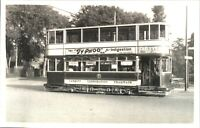 Original real photograph Tram Cardiff Typhoo Tea tramcar vintage circa 1940