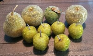 Vintage Set Of Beaded Fruit. 6 small apples, 3 larger ones and one pear.