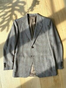 Canali Mens Two Piece Suit Beautiful Light Brown Blue Check Perfect Condition!