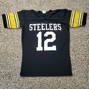 Vtg Pittsburgh Steelers Rawlings NFL Jersey #12 Terry Bradshaw Size Small 34-36
