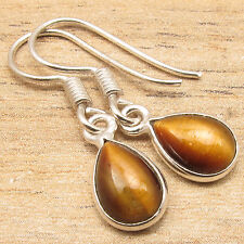 """925 Silver Plated DROP CABOCHON BROWN TIGER'S EYE Gemset NICE Earrings 1 1/8"""""""