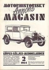 Motorhistoriskt Magasin Annons Swedish Car Magazine 2 1984 Ford 032717nonDBE