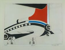 1969 Mid Century Modern Lithograph Jet 1 by Bioujer