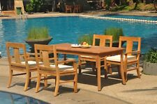 "5pc Grade-A Teak Dining Set 71"" Rectangle Table 4 Osborne Arm Chair Outdoor"