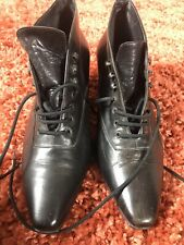 Vintage Retro Victorian Style Ankle Leather Black Boots UK 5.5