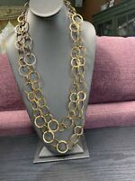 """Women's Ladies Necklace Hammered Gold Links  tone Extra Long Sweater Style 60"""""""