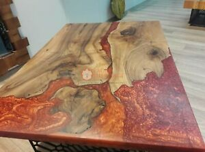 Special order for Yannick Epoxy Red Resin Top Dining Room Table Hallway Decor
