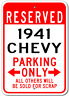 1941 41 CHEVY Chevrolet Custom Parking Sign Personalized Garage Aluminum Plaque